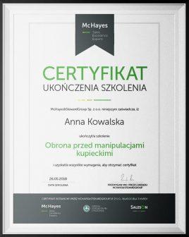 manipulacje kupca certyfikat