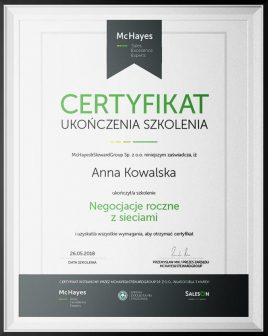 negocjacje roczne certyfikat